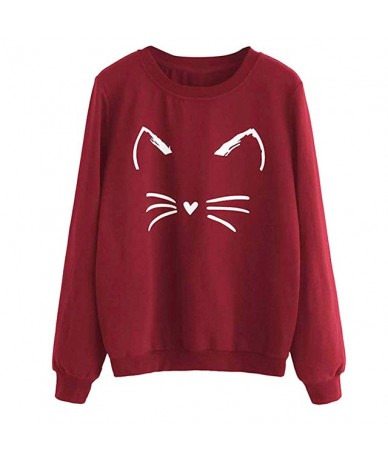 Wild Women Sweatshirt Autumn Daily Long Sleeve Normal Thickness Crew Neck Fashion Pullover Loose Casual Gift Cute Cat Print ...
