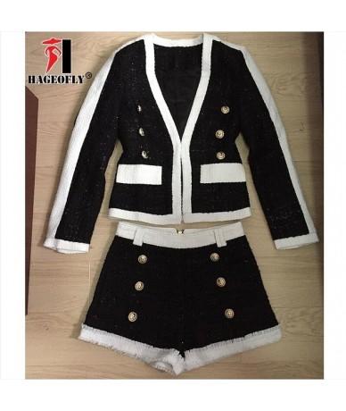 High Quality 2 Two Piece Set Women Black White Short Pants Double Lion Button Blazer Coat with Shorts Women's Suit Autumn Cl...
