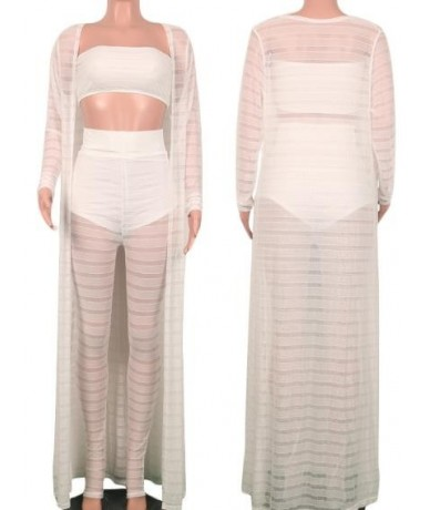 Plus Size S- 3XL 3 pieces Set for Women Cardigan Crop top and Pants See through Beach Clothing Female Three Outfits Tracksui...