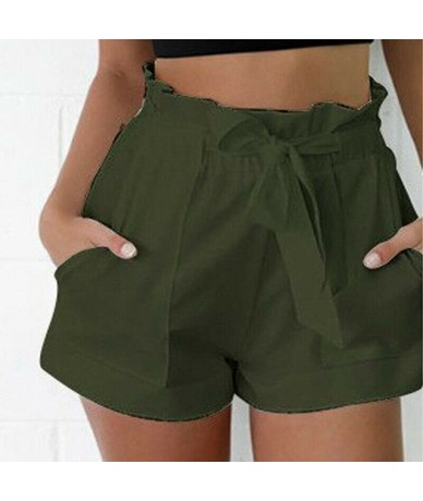 2019 New Fashion Women Summer Loose High Waist Tie Belt Shorts Trousers Ladies Solid Beach Holiday Casual Simple Slim Bottom...