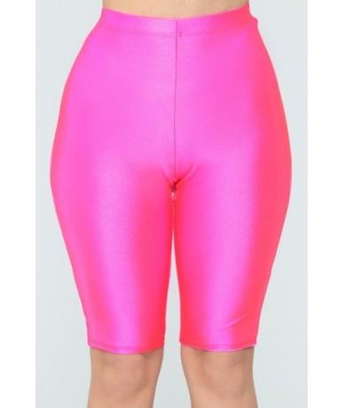 Women Skinny Running Sports Shorts High Waist Slim Skinny Solid Color High Waist Shorts Compression Fitness Short Femme - Pi...