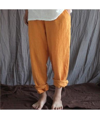 Women Spring Cotton linen Pants 2019 Original pencil Pants Pockets Trousers Casual Solid Color Pleated Vintage plus size M-6...
