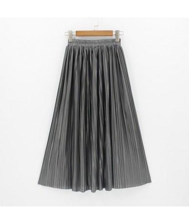 2018 New Women Fashion Long Skirts High Waist Pleated Maxi Skirt Bling Metallic Silk Tutu Skirt - dark grey - 413901459385-7