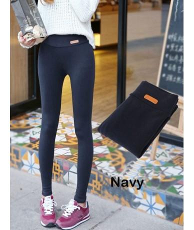 New Womens Casual Thicken Nine Pants Leggings Waist Leather Lable Elastic Cotton Leggings Pants Female Women Clothing - Navy...