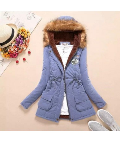 2019 New Parkas Female Women Winter Coat Thickening Cotton Winter Jacket Womens Outwear Parkas for Women Winter - LighBlue -...