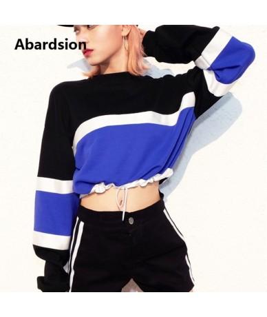 Women Sweatshirts Harajuku Hoodies Women Black Blue Patchwork Long Sleeve Female Streetwear Autumn Winter Hoodies Kpop - Bla...