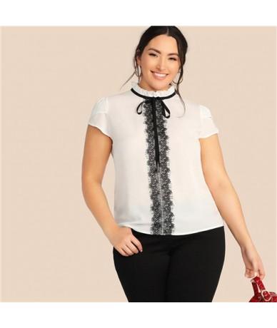 Plus Size Frilled Neck White Blouse Women 2019 Summer Contrast Lace Patchwork Blouses Ladies Petal Sleeve Top - White - 4641...