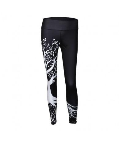 Women Fashion Tree Printed Leggings Women Workout Leggings High Waist Fitness Legging Femme Trousers PantsS-XL 2 Colors - Bl...