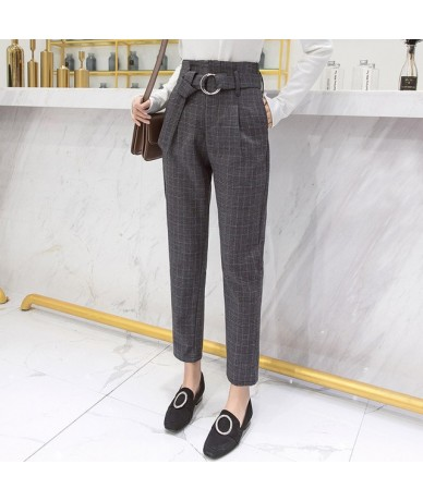 2019 Autumn Winter Plaid Pants Women Streetwear High Waist Harem Pants with Belt Plus Size trousers pantalon femme - deep gr...
