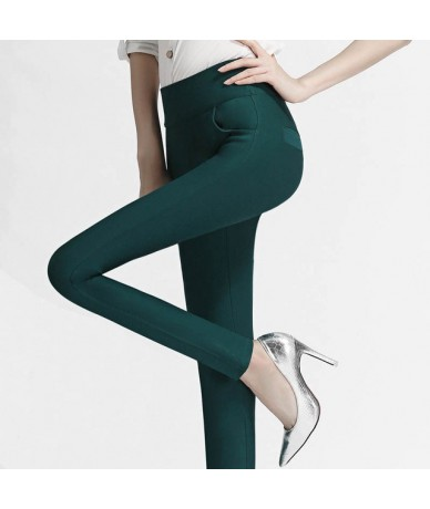 6 Colors High Waist Leggings Women Plus Size 3 XL Slim Elastic Stretched Bodycon Leggings Office Lady Trousers NJR02 - Green...