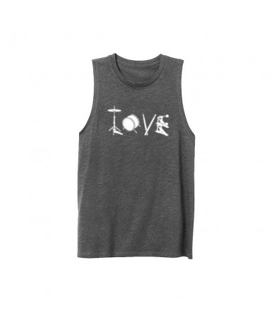 Womens Love Drum Drummer Workout Fitness Casual Tank Vest Sleveless Tops Shirts - Gray - 4Q3008464376-2