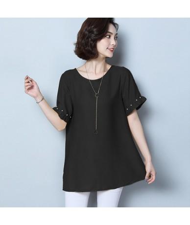 Women Chiffon Blouse Shirt Summer 2019 Short Sleeve Womens Plus Size Blouses Shirts Casual Tops Chemise Femme Yellow/Black -...