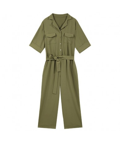 Sams Tree Women Rompers Jumpsuit with Sashes Solid Green Buttons Bodysuits Women Summer Overalls Female Plus Size Jumpsuits ...