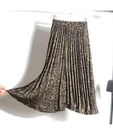 Leopard Print Pleated Skirts Women Autumn Winter 2019 Midi Long Korean Elegant High Waist A-line Sun Skirt Female - Army Gre...