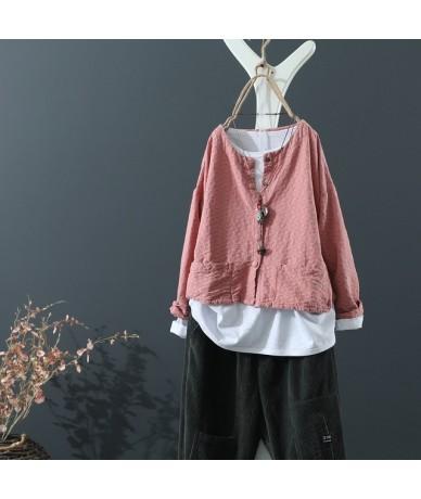 Autumn Retro Plaid New Women's Short Coat Loose Thin Art Literarture Fashion Female Cotton Linen Cardigan 5 Color Outwear Ho...