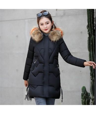Women Fashion Hooded Fur Collar Parkas 2018 Winter Jacket Slim Plus Size 3XL Thick Warm Down Cotton Jacket Women Clothing AA...