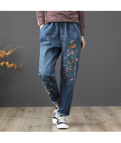 2019 Spring jeans for women with high waist womens large size Vintage Flower embroidery Elastic waist loose Denim pants w427...