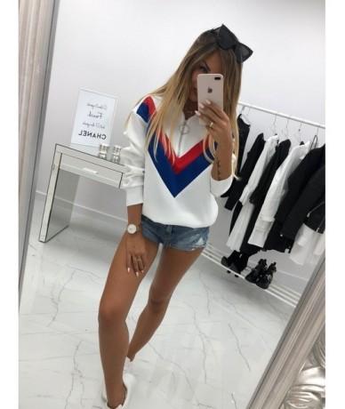 Half Zip Poleron Mujer 2019 Sweatshirt Stripe V Print Patchwork Women Hoodie Gym Sport Outfit Women Fitness Hoodie Cute Pull...
