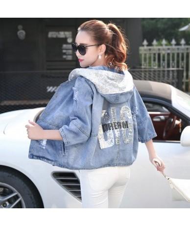 Spring Autumn Oversized Jeans Jacket Women 2017 Loose Sequin Hooded Jean Jacket Coat Female Ripped Boyfriend Denim Jackets 2...