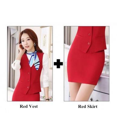 Autumn OL fashion women work wear vest skirt suit formal career ladies office vest suits plus size business uniforms - Red v...