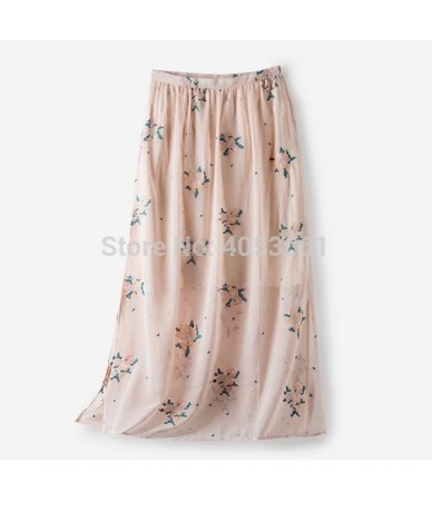 High Waist A-line Midi Skirt With Exquisite Cross Stitch & Sides Vents - 2019 Mango Yellow/Pink Skirt - Pink - 4Q4133491869-1