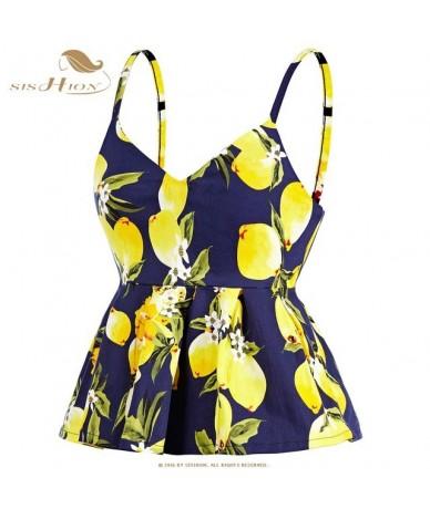 Crop Top 2019 Summer Tops Sexy Vintage Lemon Cherry Floral Print Pleated Corset Vest Beachwear Tank Top VT0002 - Blue Lemon ...