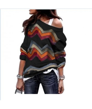 Autumn Spring Lady Women Long Sleeve T-Shirt Tops Off Shoulder Tops Printed Loose Casual Shirts Clothing - Black - 4D3077044...