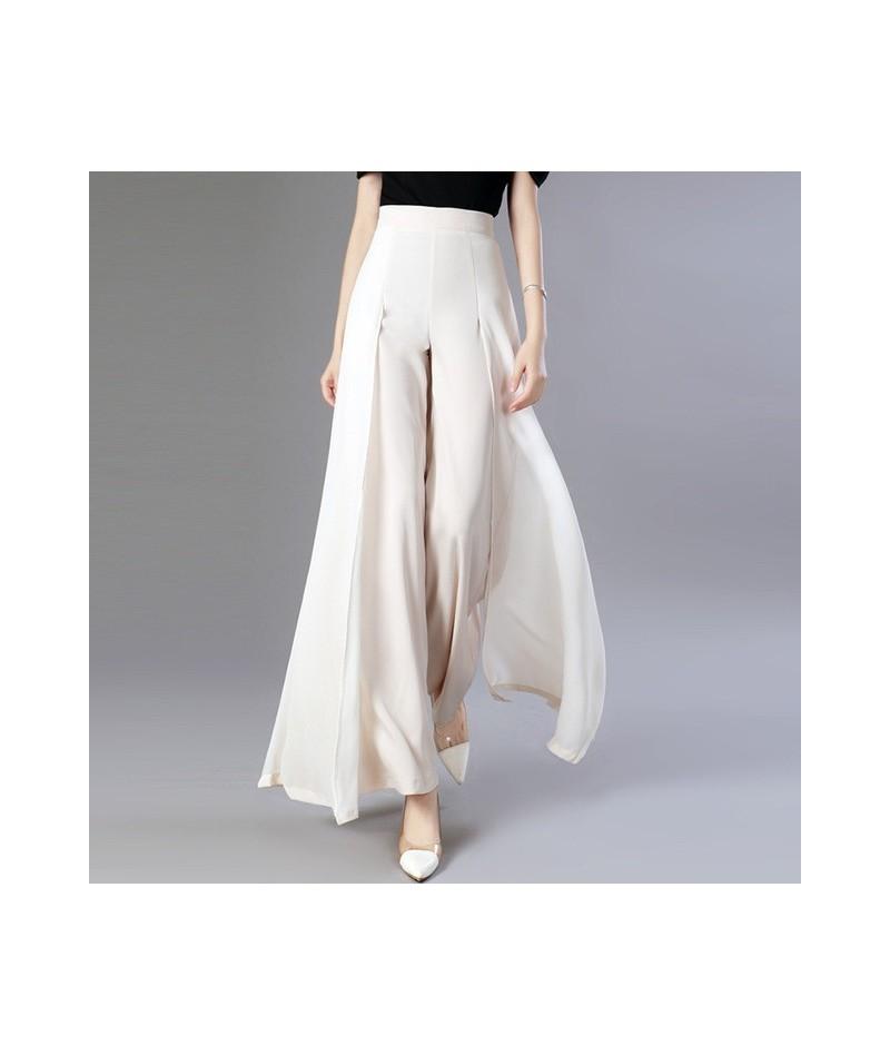 Chiffon Long Trousers High Waist Zipper Patchwork Maxi Wide Leg Pants For Women Spring Elegant Fashion Clothing - Apricot - ...