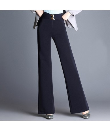 2018 New Style Women's Full Length Wide Leg Trousers High Waist Khaki Black Red Casual Straight Flat OL Baggy Pants M To 6XL...
