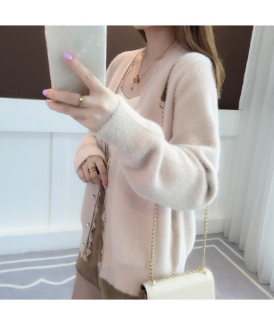2019 autumn new female net red sweater long sleeved coat mink velvet jacket lazy wind knitted cardigan. - Pink - 4Y3055767451-4