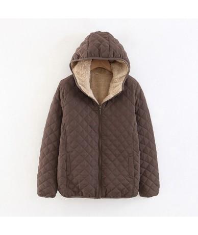 Autumn 2019 New Parkas Basic Jackets Female Women Plus Velvet Lamb Hooded Coats Cotton Winter Keep Warm Jacket Lady Tops - c...