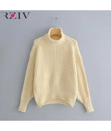 winter women's sweater casual solid color high collar long sleeve loose knitted sweater - Beige - 433060037070-1