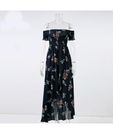 Boho Floral Print Backless Maxi Dress Women Halter Split Casual Beach Long Dresses Female Clearance Vestidos - 3-navy blue -...