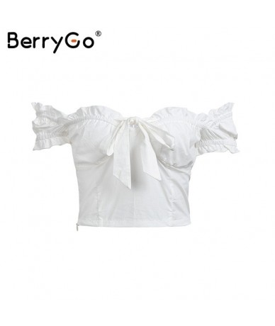 Off shoulder slim bustier bralette tops tees 2018 Sexy white crop tops women Ruffles bow summer tank tops camis female - Whi...