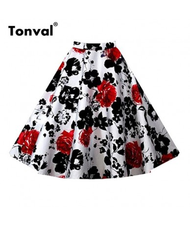 Floral Vintage Plus Size Swing Skirt Retro Flowers Print Midi Skirts Womens High Waist Cotton A Line Skirt - White with Red ...