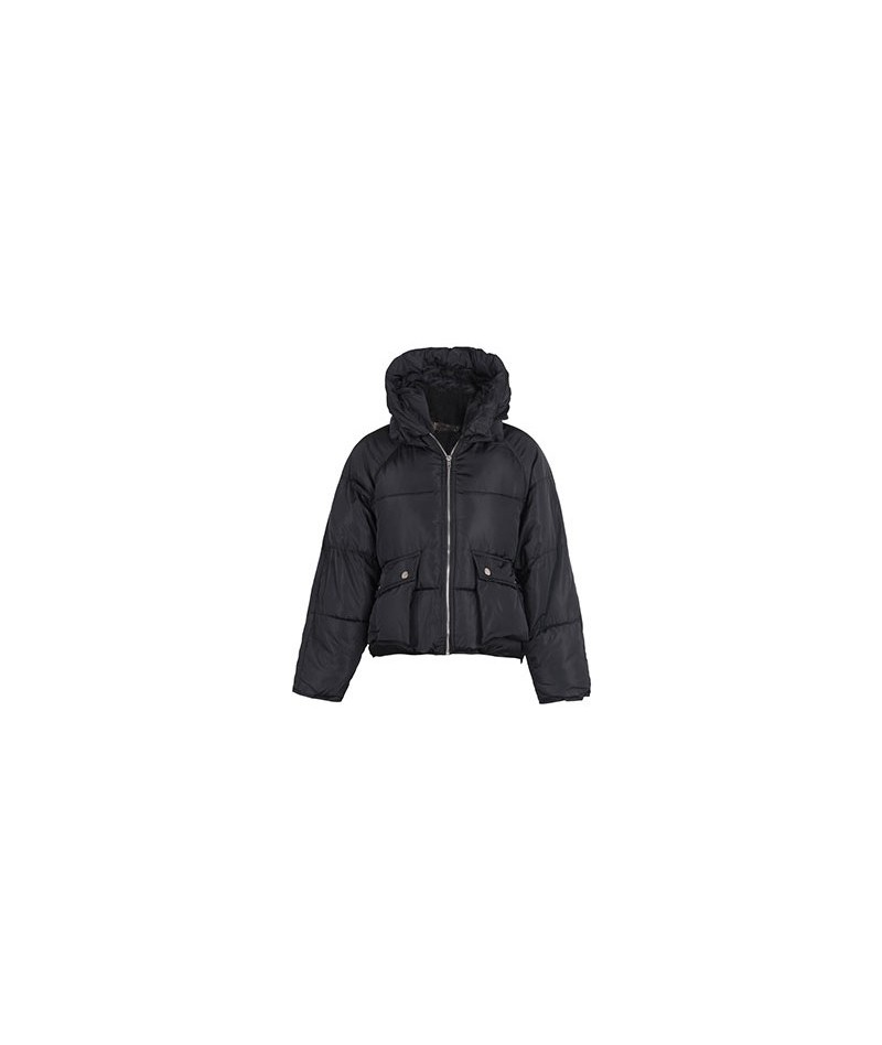 Winter Coat Women Casual Pockets Hooded Loose Down Jacket Female Short Slim Cotton Padded Warm Thicken Parkas - Black - 4R30...