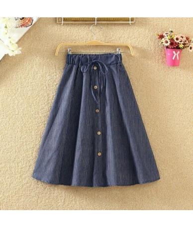 High Waist Skirt Casual Striped Bow Denim Women Solid Color Long Skirt Female Elegant Big Hem Casual Button Jean Skirt - sty...