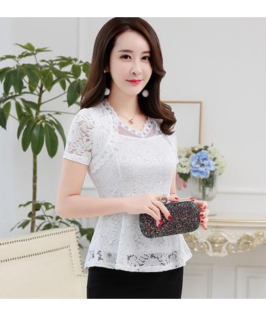 New 2018 Plus size Women blouses Fashion Ruffles Floral lace Tops Elegant Hollow out Ladies lace blouse shirt - White short ...