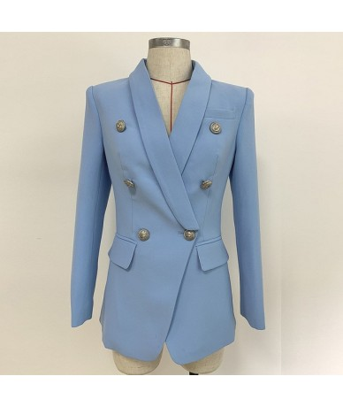 New Sky Blue Blazer Jacket Women 2019 Professional Suit Classic Double Breasted Sliver Button Shawl Collar Office Ladies Bla...