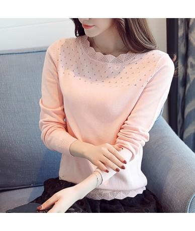 2018 autumn winter women Sweater blouse women fashion long sleeved shirt office lady hollow women top pink blue D224 30 - Pi...