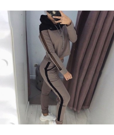 2pcs set women tracksuit Autumn 2019 Long Sleeve Hoodie Sportswear Stretch Leggings Trousers Sportswear Ladies Suit - Coffee...