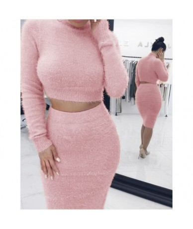 Winter Soft Warm Knitted O Neck 2 Pieces Set Casual Full Sleeve Sweater Skirt Female Sweater Suits Set - Pink - 4L4112885637-5