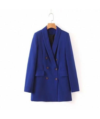 2019 women autumn new blue double breasted blazer suit office lady elegant pants - coat - 59111140693679-2