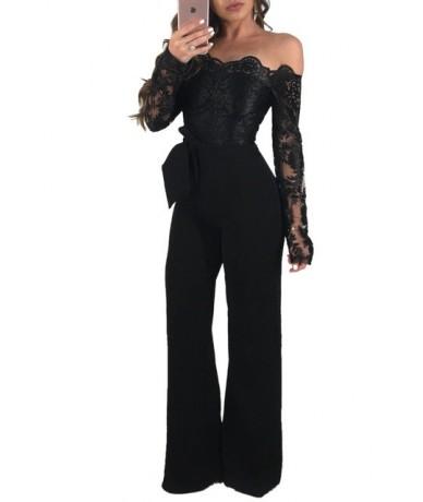 Elegant Appliques Lace Patchwork Jumpsuit Women Sexy Off Shoulder Long Sleeve Wide Leg Pants Women Jumpsuit Female Body Over...
