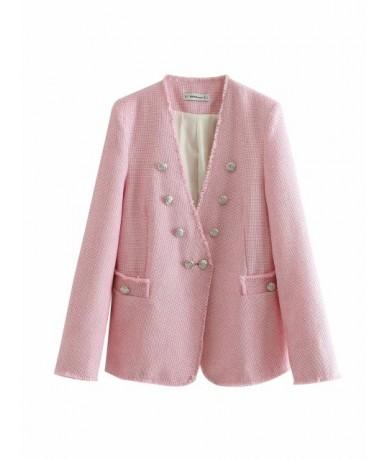 Sweet Pink Coat Double Breasted V Neck Long Sleeve Jacket Women Elegant Office Wear Female Casual Outwear Top - Pink - 4O412...