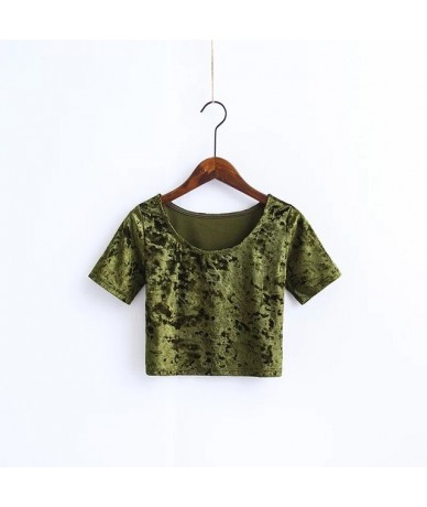 Women O neck Velvet Crop Top All Match Short Sleeve Slim Velvet T-shirts O Neck Slim Sexy Casual Velvet Crop Tops - olive - ...
