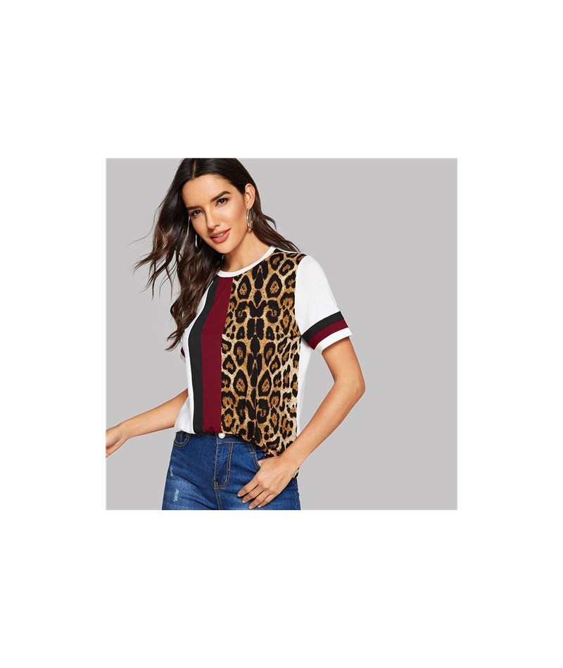 Color Block Cut-and-Sew Leopard Panel Top Short Sleeve O-Neck Casual T Shirt Women 2019 Summer Leisure Ladies Tshirt Tops - ...