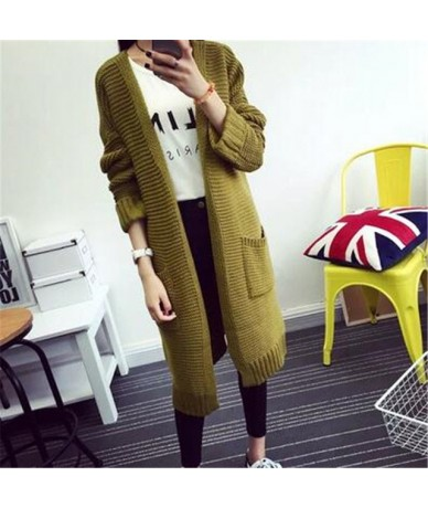2019 New Autumn Winter Women Sweater Knitted Long sleeves Sweater Cardigan Loose Casual Cardigan Sweater Warm Coat A41 - gre...
