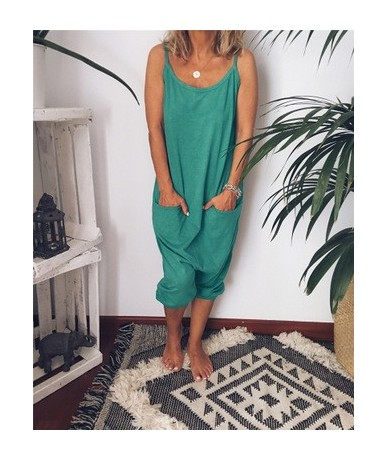 2019 Summer Women Girls Loose Solid Jumpsuit Strap Pocket Trousers Romper Ladiesl Pants Casual Home Playsuits - Green - 4841...