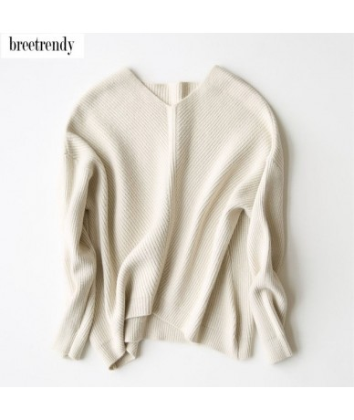 spring fashion women classic elegant v neck batwing sleeve cashmere blends knitted sweater pullovers soft sweaters tops - Be...